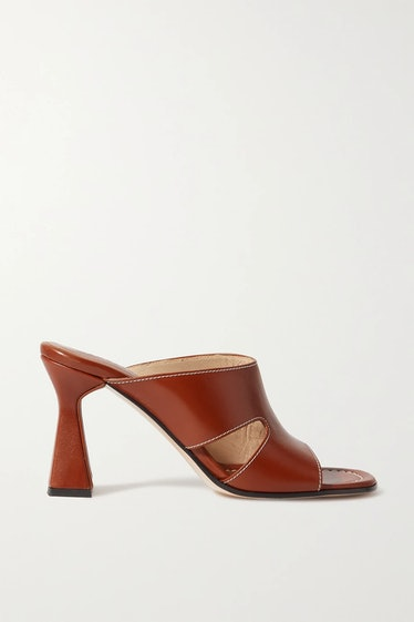 Marie Cutout Leather Mules