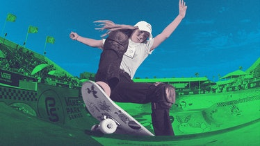 Teen skateboard champion Brighton Zeuner performs a trick at the top of a skateboard ramp, as seen w...