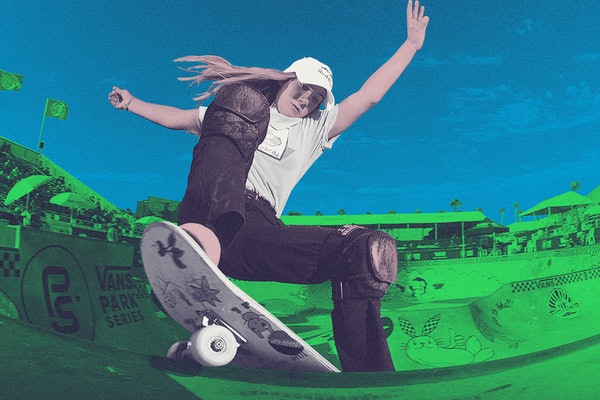 Teen skateboard champion Brighton Zeuner performs a trick at the top of a skateboard ramp, as seen with a colorful overlay of blue and green