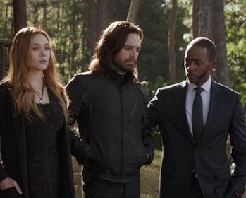 Wanda, Bucky, and Sam and Iron Man's funeral.