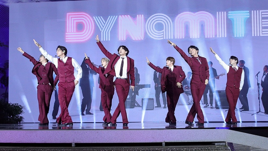 HOLLYWOOD, CALIFORNIA - OCTOBER 14: (EDITORIAL USE ONLY; NO BOOK COVERS.) (L-R) In this image released on October 14, RM, V, Jimin, Jungkook, Jin, J-Hope, and Suga of BTS perform onstage at the 2020 Billboard Music Awards, broadcast on October 14, 2020 at the Dolby Theatre in Los Angeles, CA.  (Photo by Big Hit Entertainment/BBMA2020)
