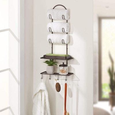 mDesign Towel Holder with Shelves