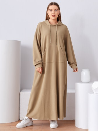 Plus Drop Shoulder Pocket Front Hoodie Dress