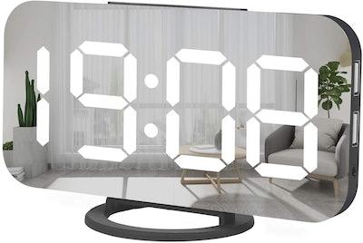 Miowachi Mirror Alarm Clock with Charging Ports