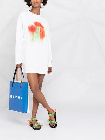 Floral-Print Sweatshirt Dress