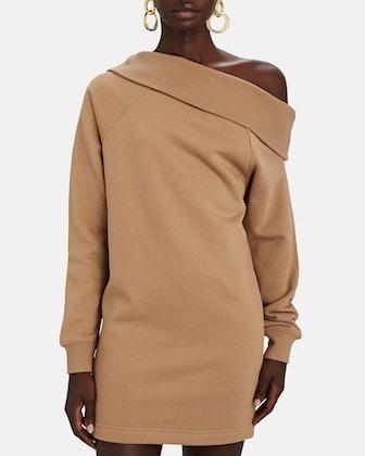 One-Shoulder Mini Sweatshirt Dress