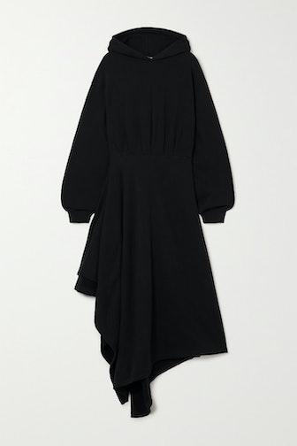 Hooded Asymmetric Cotton-Jersey Wrap Dress