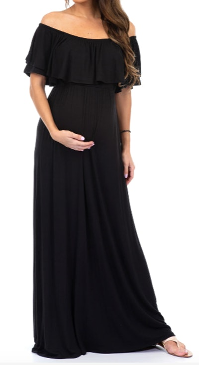 Ruffled Open Shoulder Maternity Dress