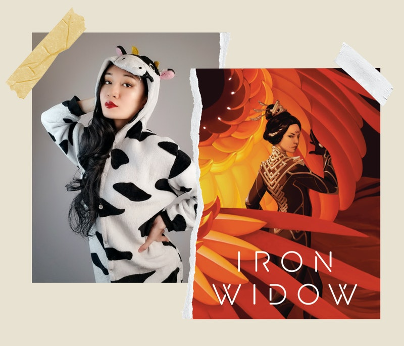 Author Xiran Jay Zhao and the cover of her novel Iron Widow.