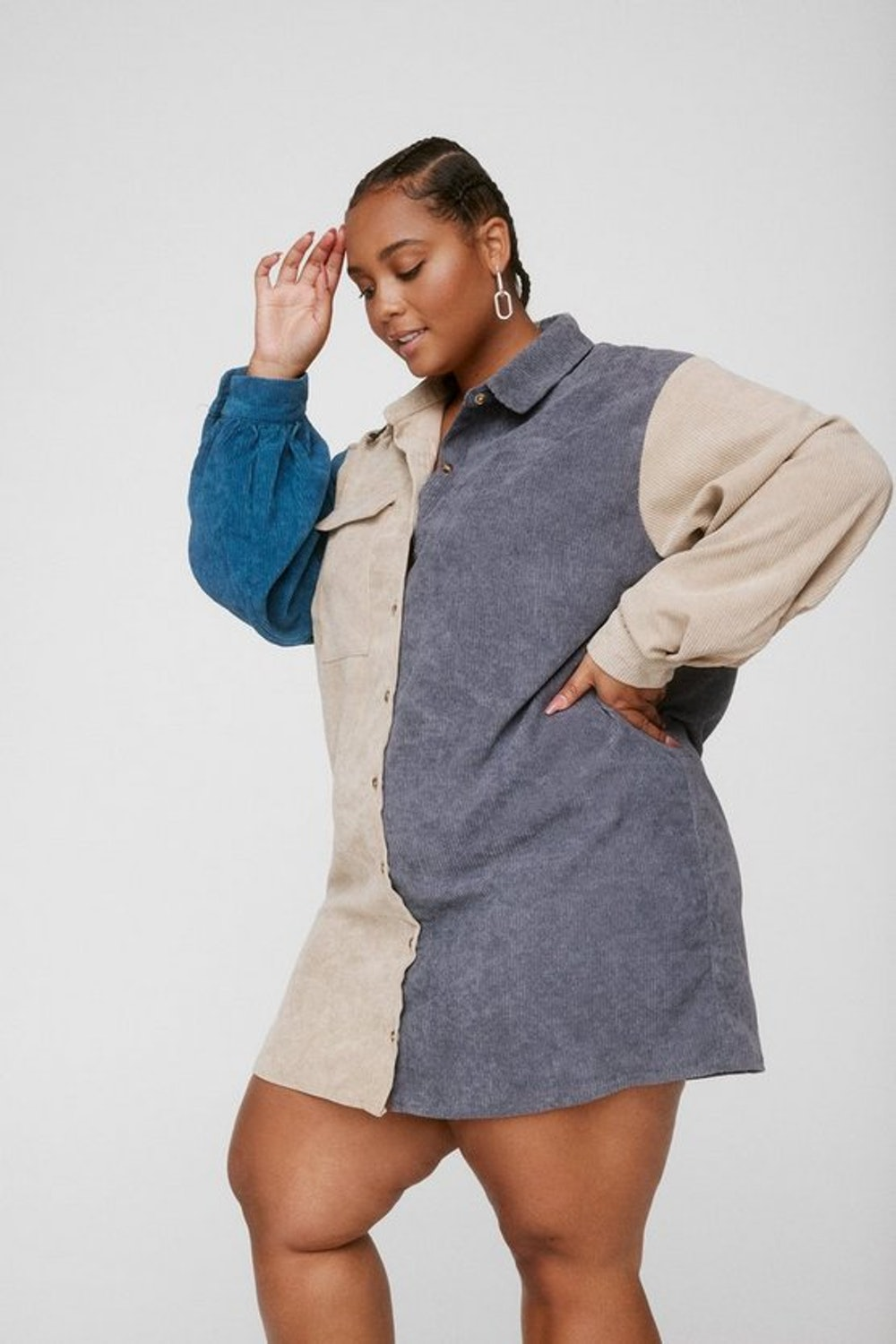 Plus Size Corduroy Colorblock Shirt Dress