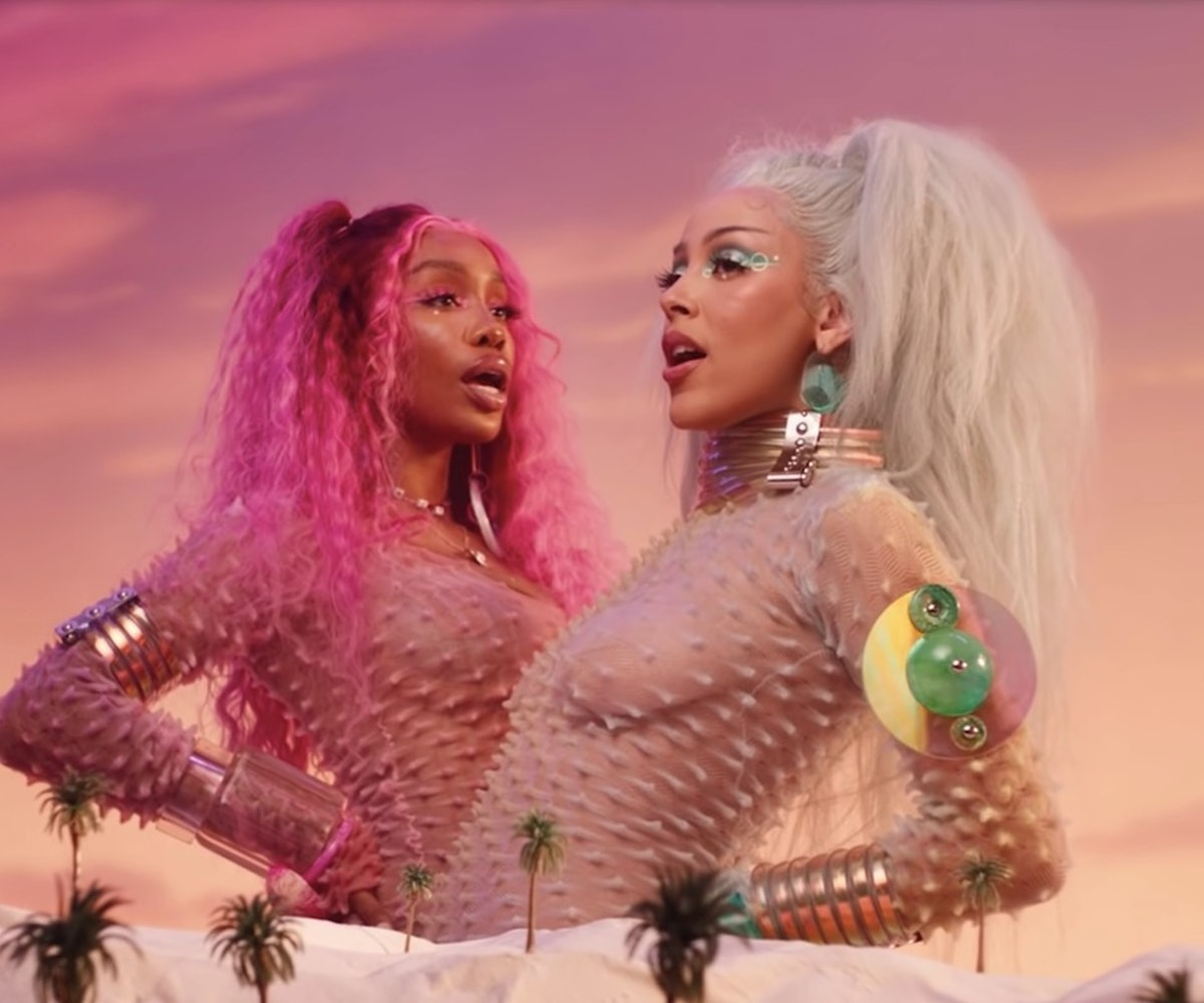 "A still from Doja Cat and SZA's new video for their song ""Kiss Me More."""