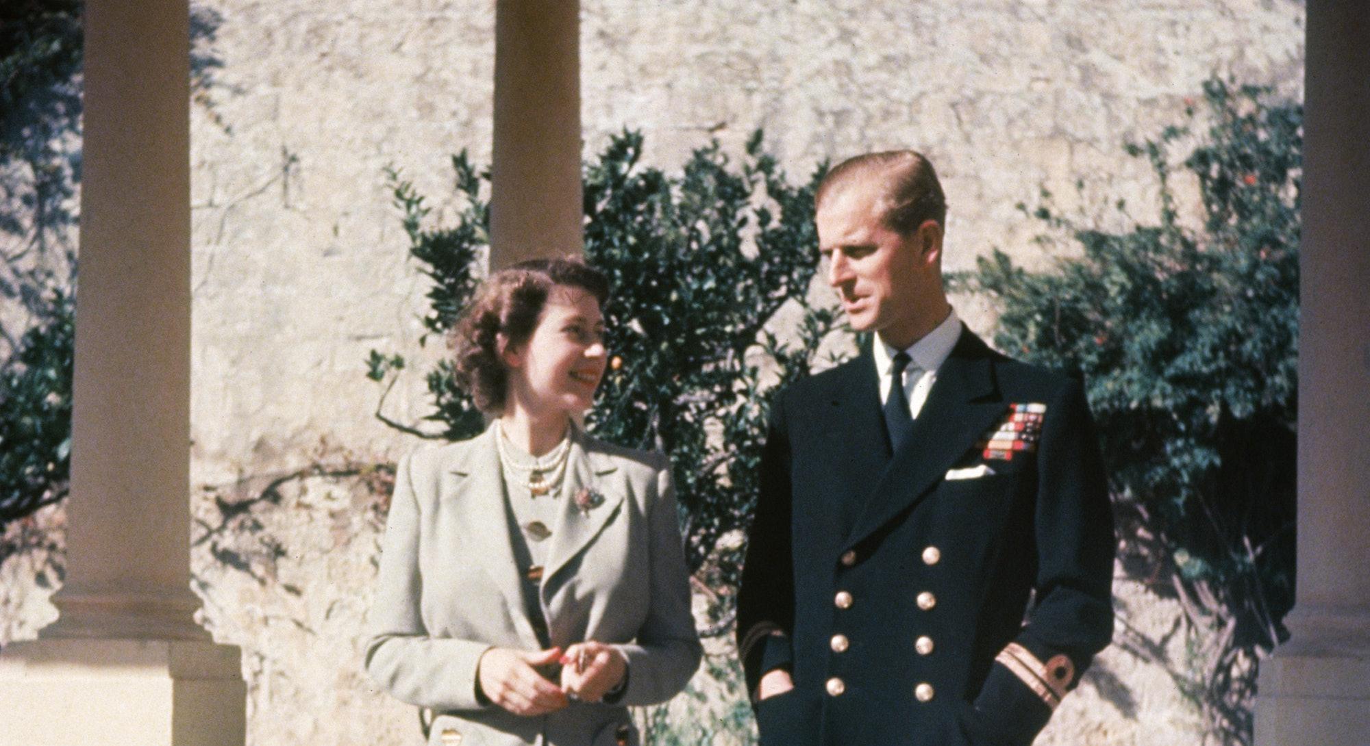 Princess Elizabeth and her husband Prince Philip, Duke of Edinburgh during their honeymoon in Malta,...