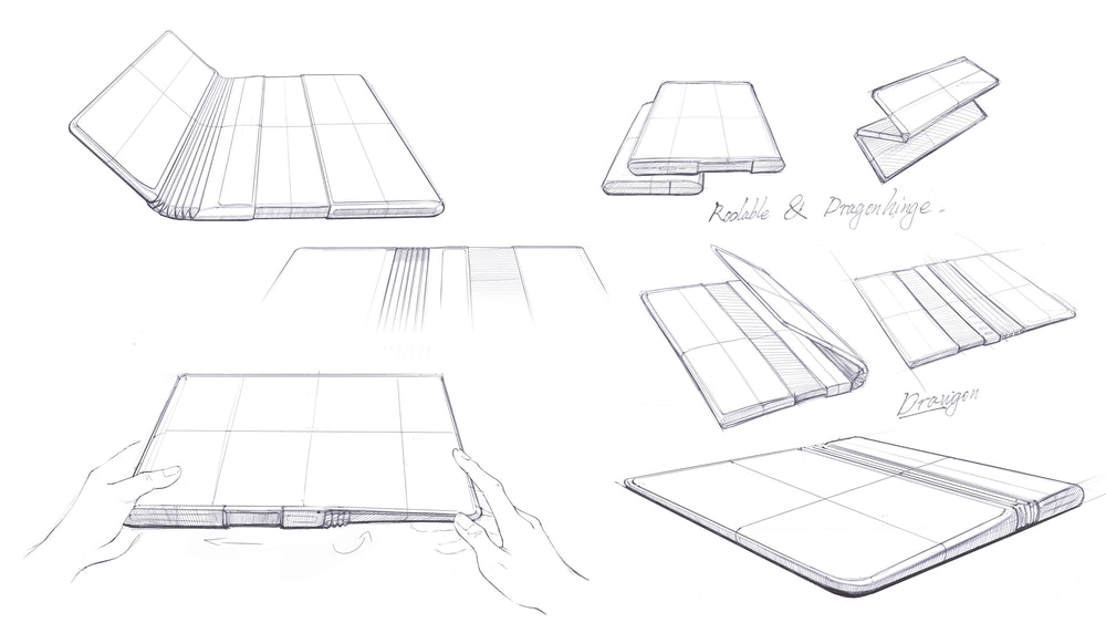 Sketches of TCL's Fold 'n Roll concept device with flexible foldable display and rolling screen design.
