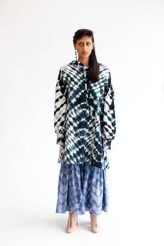 Zebra Tie-Dye Kurta Hoodie