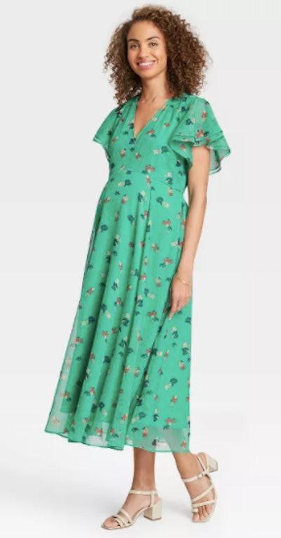 Floral Print Flutter Short Sleeve Chiffon Maternity Dress