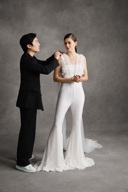 Andrew Kwon's debut bridal collection includes an elegant tulle-trimmed jumpsuit, along with other wedding-appropriate attire.