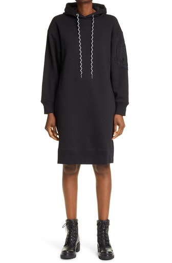 Logo Embroidered Long Sleeve Hoodie Dress