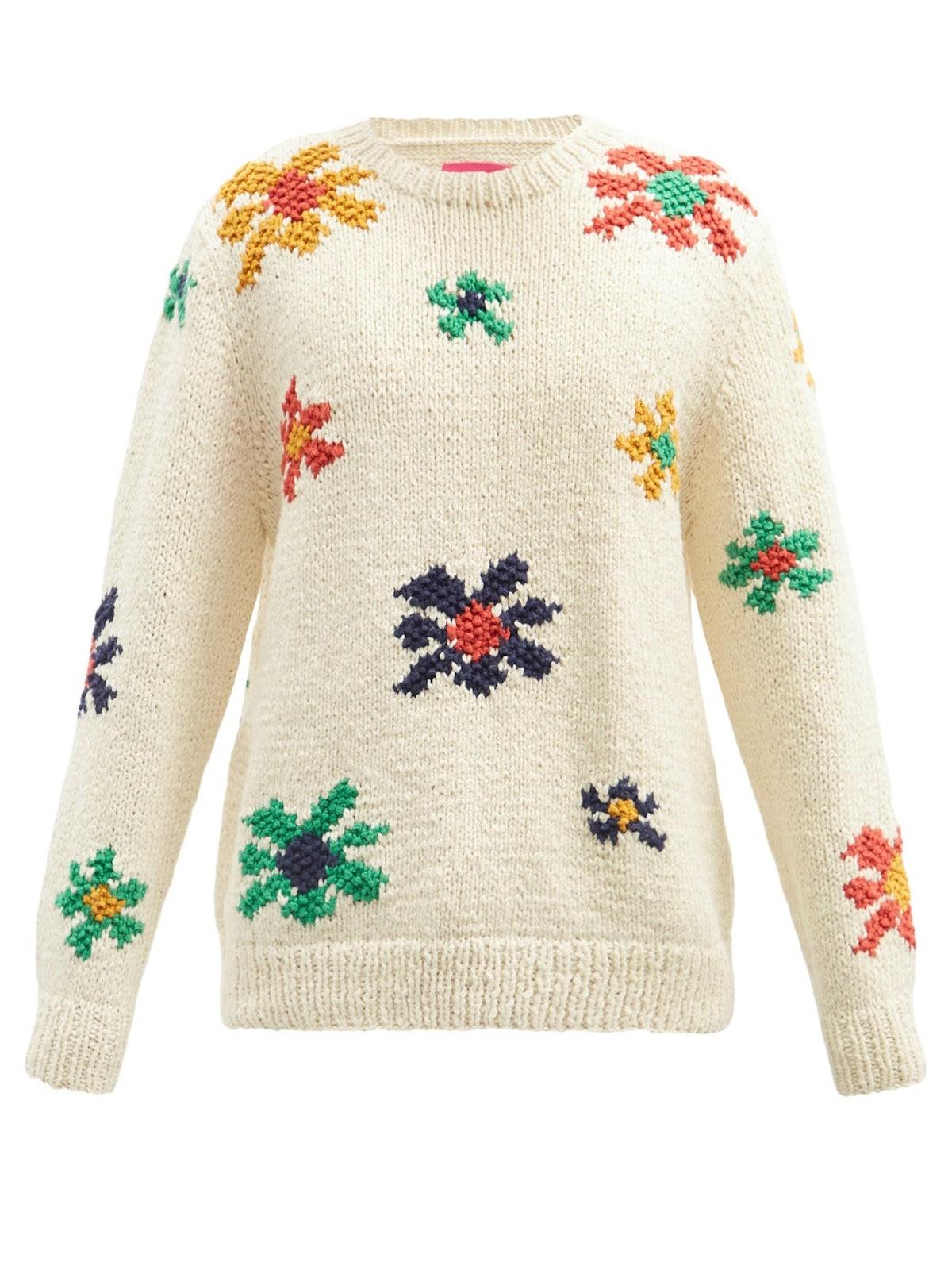 Flower-Jacquard Organic-Cotton Sweater