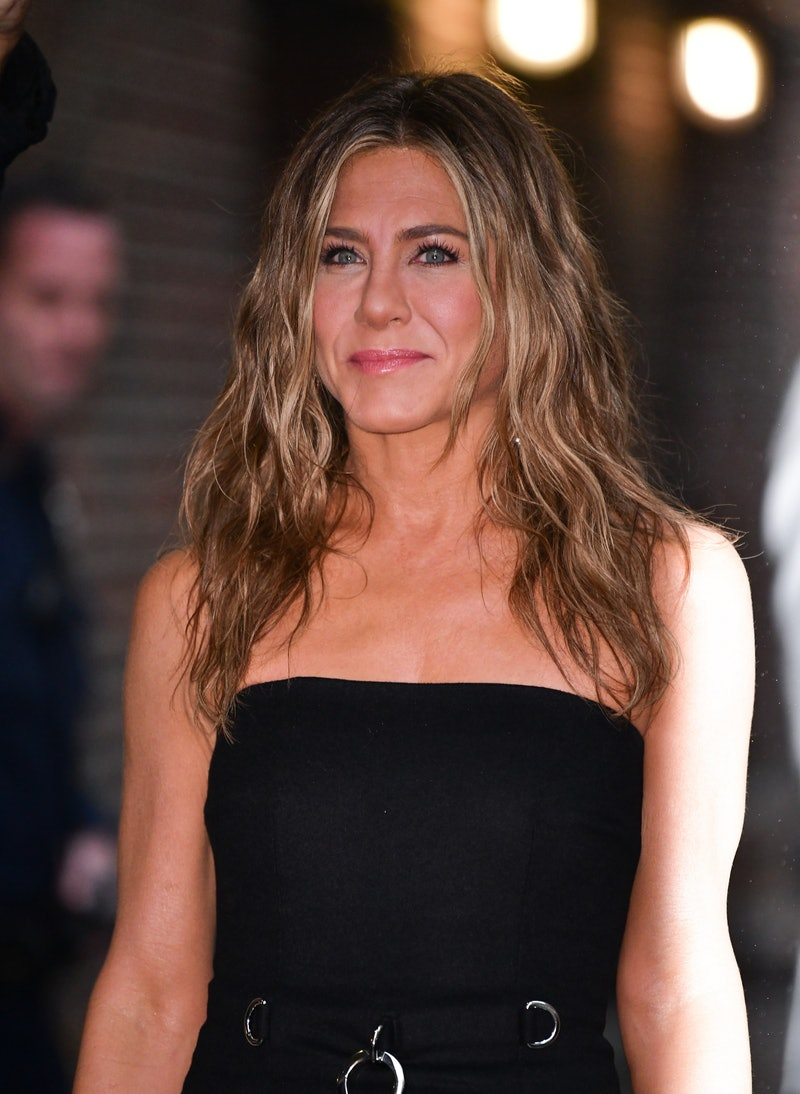 """NEW YORK, NY - OCTOBER 29: Jennifer Aniston visits """"The Late Show with Stephen Colbert"""" at the Ed Sullivan Theater on October 29, 2019 in New York City."""