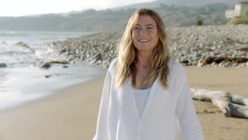 Ellen Pompeo (as Meredith Grey) on the sandy death beach in 'Grey's Anatomy.' Photo via ABC