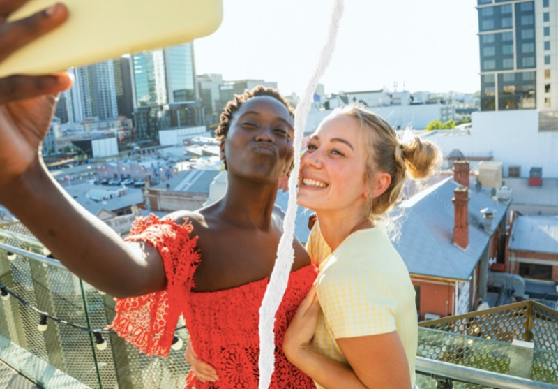 Two friends take a selfie with a split down the middle. The pandemic ended friendships for some women.