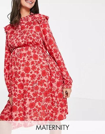 Maternity Frill Detail Mini Dress