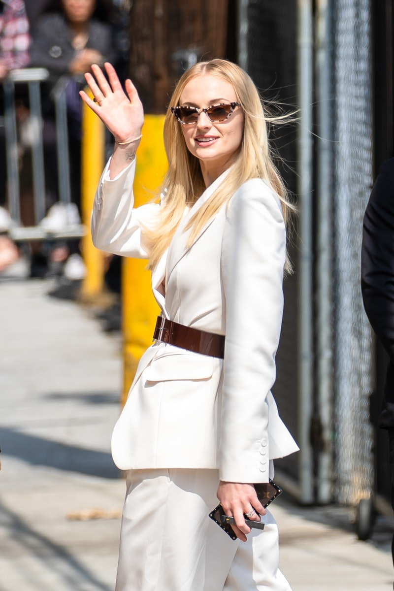 Sophie Turner is seen arriving at 'Jimmy Kimmel Live' on June 04, 2019 in Los Angeles, California.