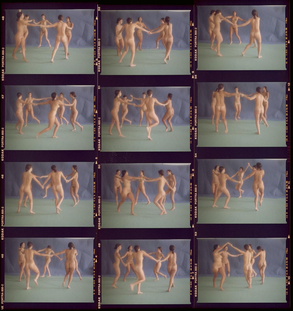 A grid of people dancing