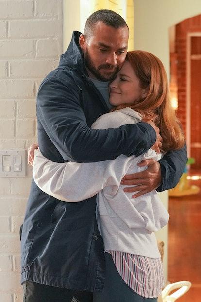 Jackson (Jesse Williams) and April (Sarah Drew) hugging in 'Grey's Anatomy.' Photo via ABC