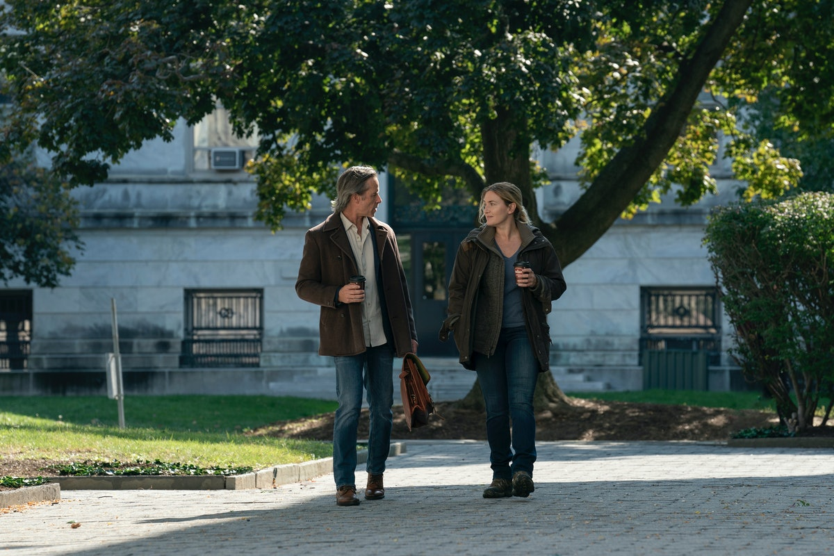 Guy Pearce and Kate Winslet in HBO's Mare of Easttown