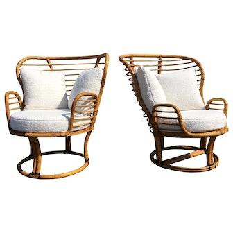 Pair of Rattan Lounge Chairs Faux Sheepskin