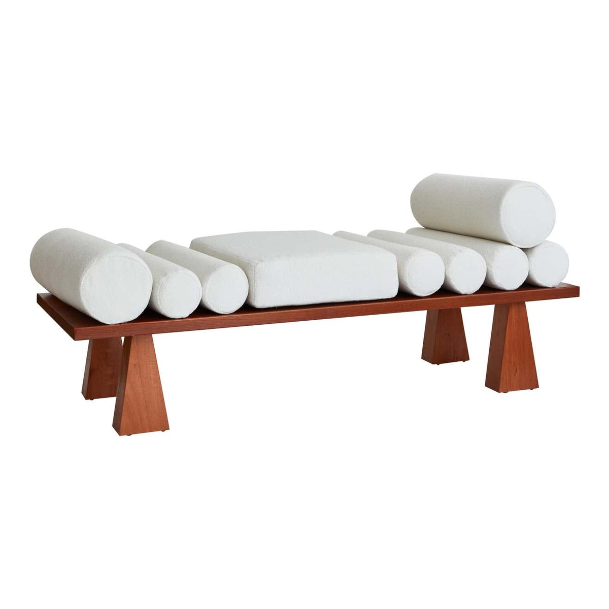 Lennon Daybed, Ivory Bouclé & Wood Daybed