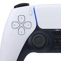Close-up of a PlayStation 5 DualSense controller.