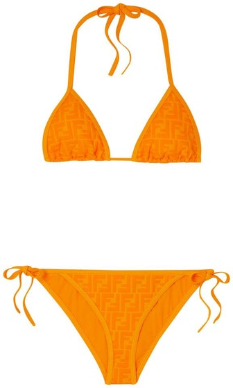 Orange Ff Logo Embossed Triangle Bikini Set