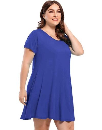 BELAROI Short-Sleeve Scoop Neck T-Shirt Dress
