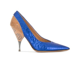 Blue New Logo Print Heel Metallic Leather Pumps