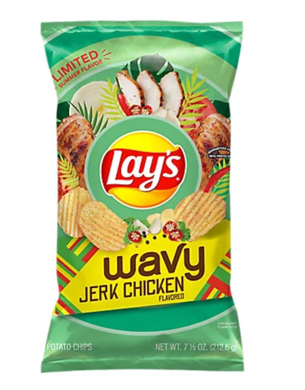 Lays Wavy Potato Chips Jerk Chicken Flavored