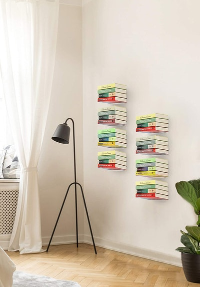 STORAGE MANIAC White Invisible Floating Bookshelves (4-Pack)