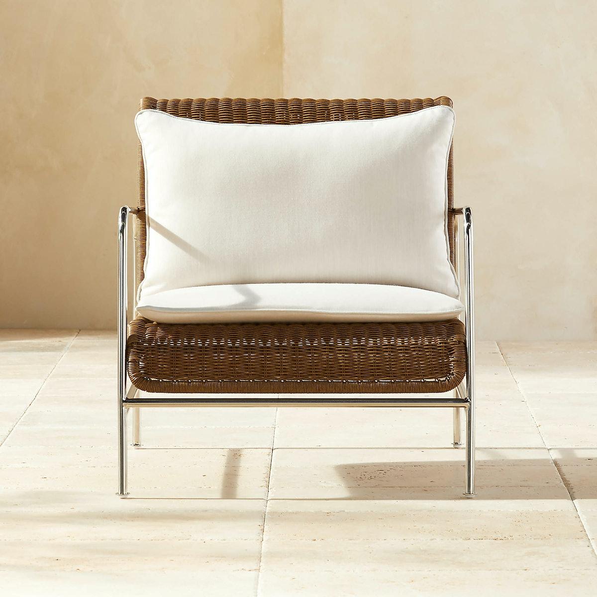 Corrina Faux Rattan Lounge Chair with Ivory Sunbrella ® Cushions