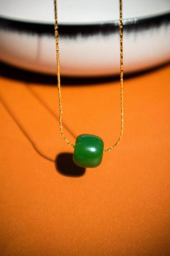 Green Bead Jade Necklace