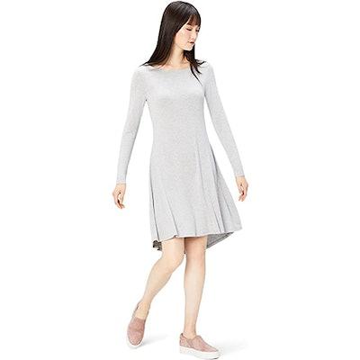 Daily Ritual Jersey Long-Sleeve Bateau-Neck Dress