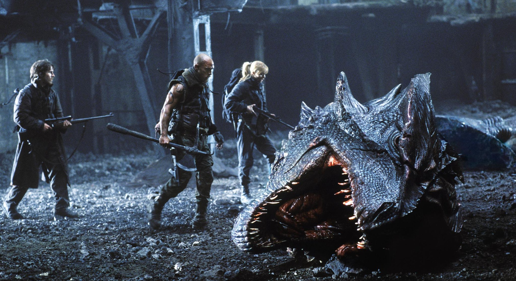 soldiers around dead dragon in reign of fire
