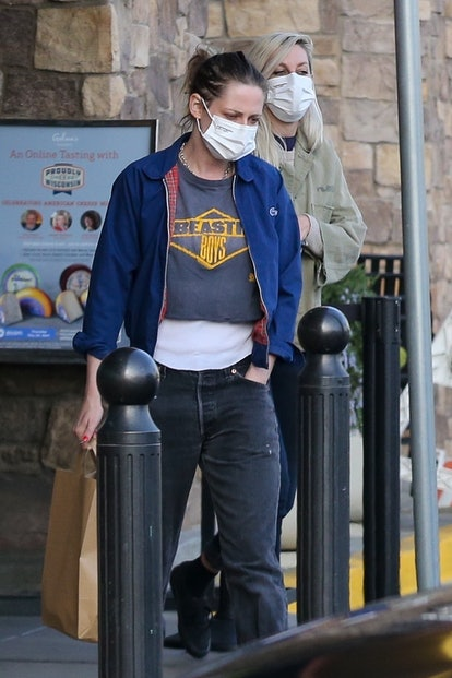 Actress Kristen Stewart rocks a Beastie Boys tee for a trip to the grocery store with her girlfriend Dylan Meyer.