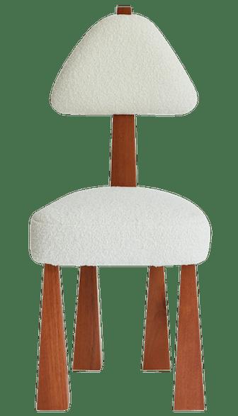 Lana Dining Chair, Ivory Bouclé & Wood Chair