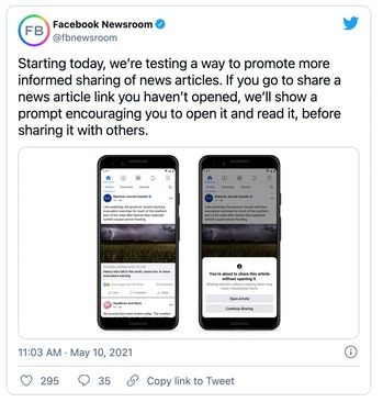 Facebook will start asking its users to read articles before sharing them.