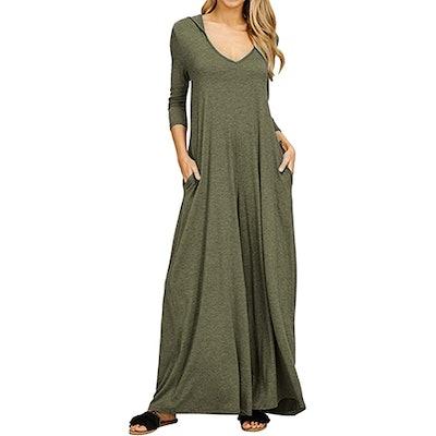Jacansi Long Sleeve Hooded Maxi Dress