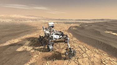 perseverance rover on mars illustration