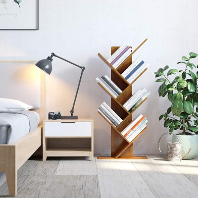 C&AHOME Bamboo Wood Tree Bookshelf
