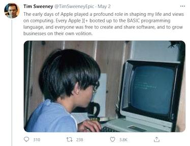 tim sweeney twitter epic vs apple post