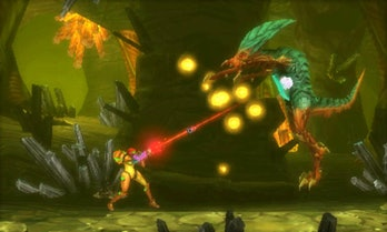metroid samus returns samus aran shoots enemy